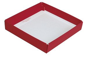 BY THE PIECE, Folding Carton, This Top - That Bottom Base, 8 oz., Square, Red, Single-Layer
