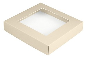 BY THE PIECE, Folding Carton,  This Top - That Bottom Window Lid, 8 oz., Square, Pearlescent