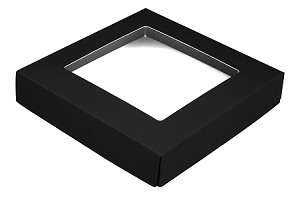 Folding Carton, This Top - That Bottom, Window Lid, 8 oz., Square, Black, QTY/CASE-50