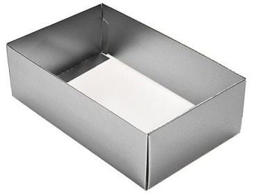 BY THE PIECE, Folding Carton,  This Top - That Bottom Base, 8 oz., Rectangle, Metallic Silver, Double-Layer