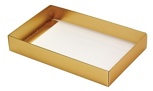 BY THE PIECE, Folding Carton, This Top - That Bottom Base, 8 oz., Rectangle, Metallic Gold, Single-Layer