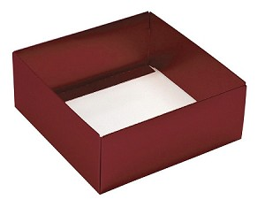 BY THE PIECE, Folding Carton,  This Top - That Bottom Base, 8 oz., Square, Metallic Red, Double-Layer