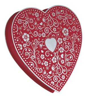 BY THE PIECE, Heart Box, Embossed, Silver, 1 lb.