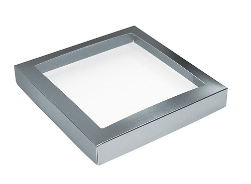 BY THE PIECE, This Top - That Bottom, Window Lid, Square, Metallic Silver, 7-1/2 x 7-1/2 x 1
