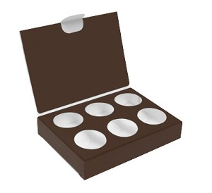 Folding Carton, CLOSEOUT, Artisan Series Box with Flip Lid, 6-Piece, Brown, QTY/CASE-50