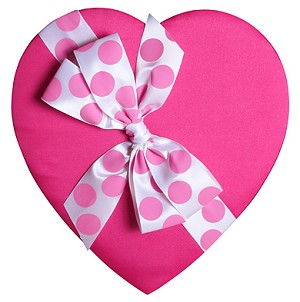 BY THE PIECE, Heart Box, Polka Dot Bow, Pink Satin, 8 oz.