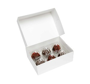 "BY THE PIECE, Folding Carton, Cakeball Box with Flip Lid, 6-Piece, Rectangle, White, 6-1/8"" L x 4-1/2"" W x 2-1/8"" D"