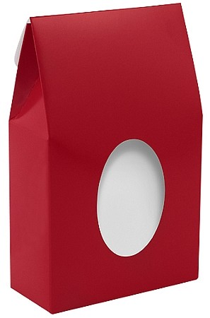 Folding Carton, CLOSEOUT, Gable Box with Window (No Window Film), Standard, Red, QTY/CASE-25