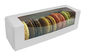 BY THE PIECE, Folding Carton, Macaron Window Box, White, QTY/CASE-50