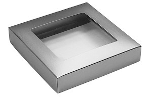 Folding Carton, This Top - That Bottom, Window Lid, 8 oz., Square, Metallic Silver, QTY/CASE-50