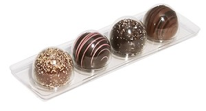 BY THE PIECE, Tray, Truffle, Dessert, Rectangle, Clear, 4 Cavity