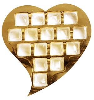 BY THE PIECE, Heart Tray, Whimisical, Gold, 1 lb., 16 Cavity
