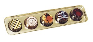 BY THE PIECE, Tray, Artisan Series Gold Tray with Clear Lid, Rectangle, 5 Cavity