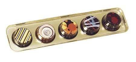 Tray, Artisan Series Gold with Clear Lid, Rectangle, 5 Cavity, 8-1/2 x 2 x 1