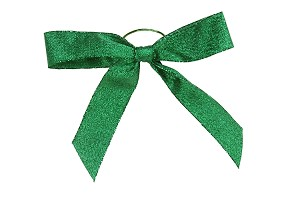 Pre-Tied Bows with Stretch Loops, Metallic Emerald Green, 6 in., QTY/CASE-100