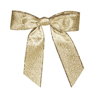 "Pre-Tied Bows with Twist Ties, 4"", Metallic Gold, QTY/CASE-100"