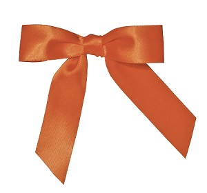 "Pre-Tied Bows with Twist Ties, 4"", Satin Citrus Orange, QTY/CASE-100"