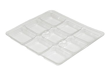 Tray Guard, Square, Clear, 8 oz., 9 Cavity, QTY/CASE-50