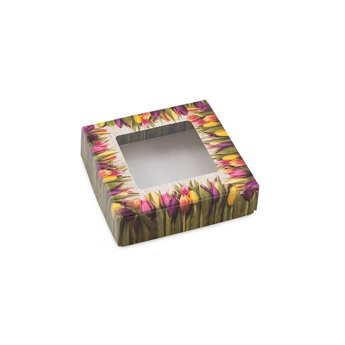 Country Tulips, Decorative Gift Box with Window, 3-1/2 x 3-1/2 x 1