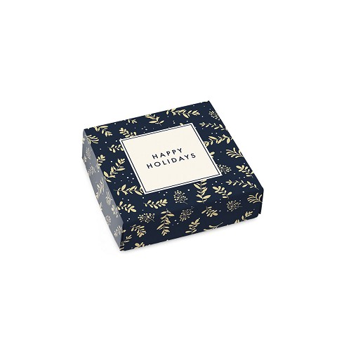 Happy Holidays, Navy, Decorative Gift Box, 3-1/2 x 3-1/2 x 1