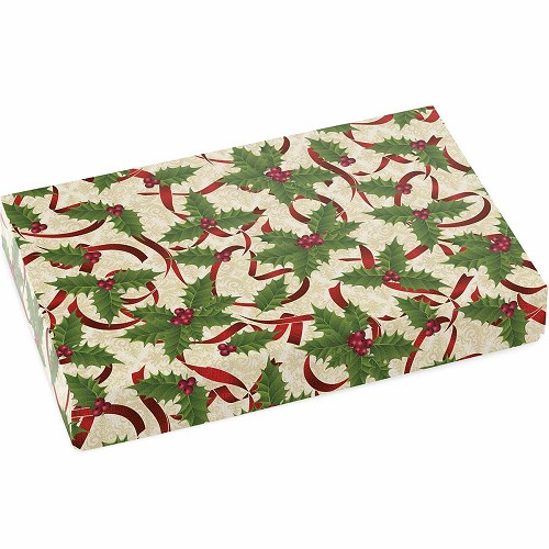 Holly and Ribbon, Decorative Gift Box, 9-1/2 x 6 x 1