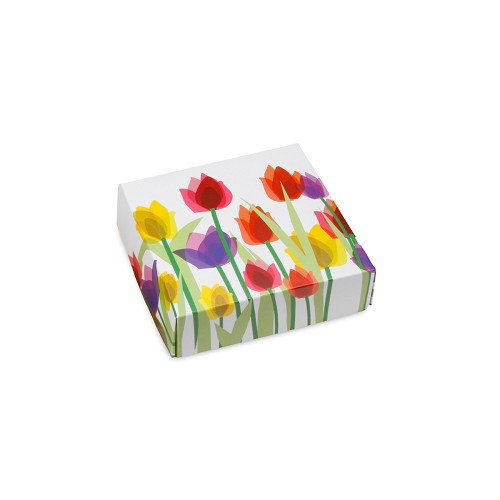 BY THE PIECE, Spring Tulips, Decorative Gift Box, 3-1/2 x 3-1/2 x 1-1/8
