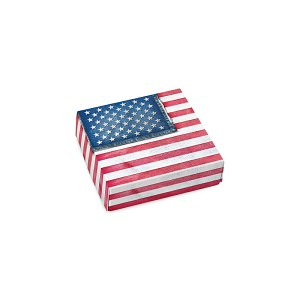 BY THE PIECE, Folding Carton, CLOSEOUT, Lid, 3 oz., Petite, Square, Denim Flag Box