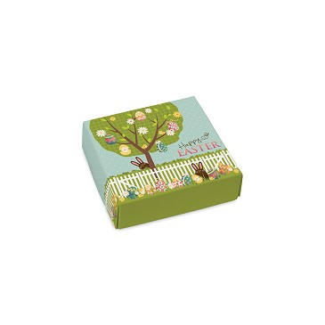 Folding Carton, Lid, 3 oz., Petite, Square, Springtime, QTY/CASE-50