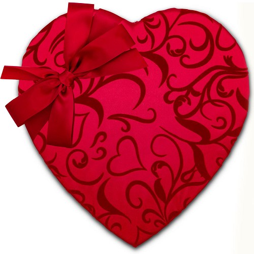 Heart Shaped Candy Box, Bow and Sash, Passion Ivy, 3 lb., QTY/CASE-2