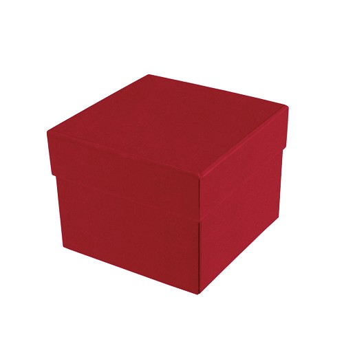 BY THE PIECE, Rigid Set-up Box, Cube, 2-Tier, Petite, Soft Touch Finish, Red