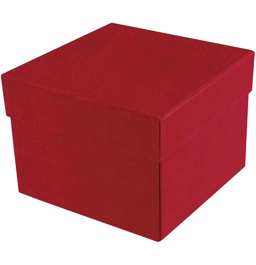 Rigid Set-up Box, Cube, 3-Tier, Soft Touch Finish, Red, QTY/CASE-12