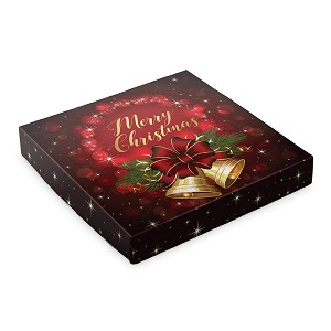 BY THE PIECE, Folding Carton, Lid, 16 oz., Square, Christmas Bells