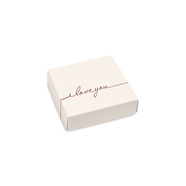 Folding Carton, Lid, 3 oz., Petite, Square, I Love You, QTY/CASE-50