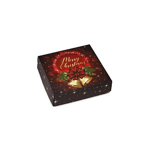 BY THE PIECE, Folding Carton, Lid, 3 oz., Petite, Square, Christmas Bells