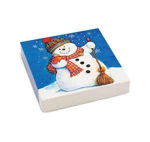 Folding Carton, Lid, 8 oz., Square, Classic Snowman, QTY/CASE-50