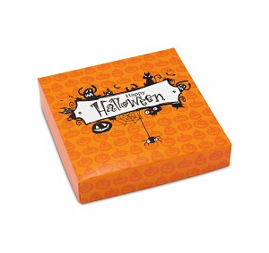 Folding Carton, Lid, 8 oz., Square, Happy Halloween, QTY/CASE-50