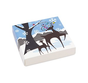 BY THE PIECE, Folding Carton, Lid, 16 oz., Square, Winter Wonderland Box