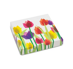 BY THE PIECE, Folding Carton, Lid, 8 oz., Square, Spring Tulips Box