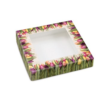 Country Tulips, Decorative Gift Box with Window, 5-1/2 x 5-1/2 x 1-1/8""
