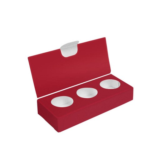 Artisan Series Box with Flip Lid, 3-Piece, Red, 4-1/2 x 2 x 1