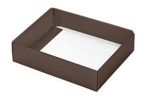 BY THE PIECE, Folding Carton, This Top - That Bottom Base, 4 oz., Rectangle, Brown, Single-Layer