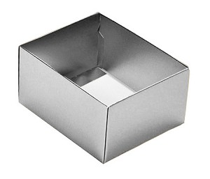 BY THE PIECE, Folding Carton, This Top - That Bottom Base, 4 oz., Rectangle, Metallic Silver, Double-Layer