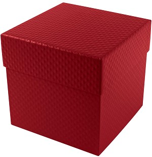 BY THE PIECE, Rigid Set-up Box, Cube, 4-Tier, 5th Ave. Red