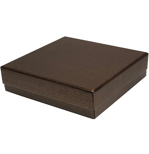 Rigid Set-up Box, Gift Box, Single-Layer, Square, 8 oz., Deco Bronze, QTY/CASE-24