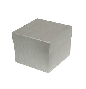 BY THE PIECE, Rigid Set-up Box, Cube, Petite, 2-Tier, Silver