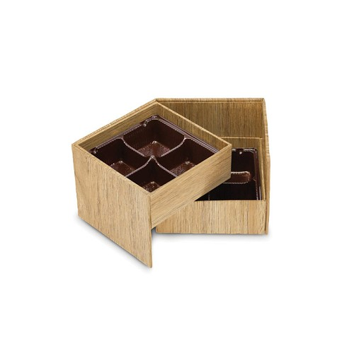 BY THE PIECE, Rigid Set-up Box, Cube, 2-Tier, Petite, Textured Wood Grain