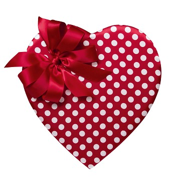 BY THE PIECE, Heart Box, Red & White Polka Dot, 8 oz.