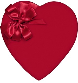 Heart Box, Red Velvet, 1 lb., QTY/CASE-6