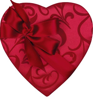 Heart Box, Bow and Sash, Passion Ivy, 1-1/2 lbs., QTY/CASE-6