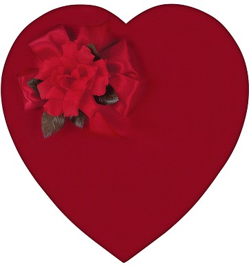 Heart Shaped Candy Box, Satin, Red, 2 lb., QTY/CASE-4